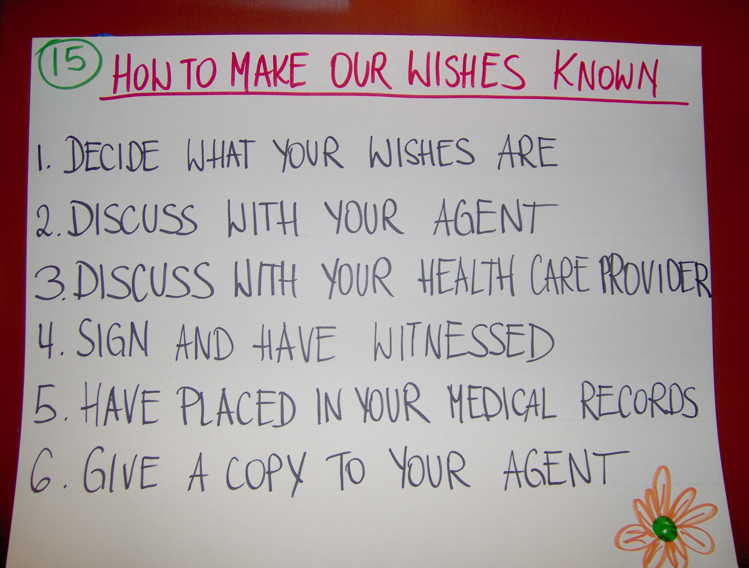 Educational chart on how to make our wishes known